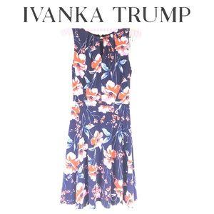 Ivanka Trump floral print key hole pleat dress XS